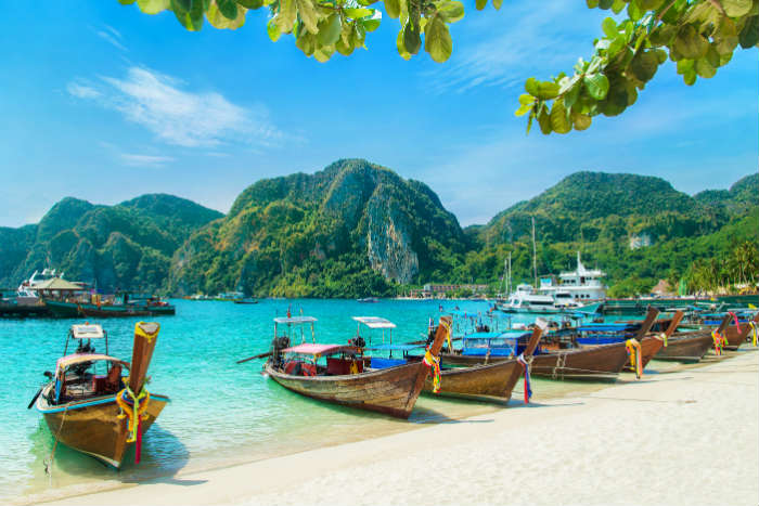 Boats by the beach, Ko Ph Phi Island